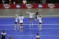 15 December 2007: Stanford Cardinal Bryn Kehoe (4), Foluke Akinradewo (16), Cassidy Lichtman (8), Alix Klineman (10), Gabi Ailes (9), and Cynthia Barboza (1) during Stanford's 25-30, 26-30, 30-23, 30-19, 8-15 loss against the Penn State Nittany Lions in the 2007 NCAA Division I Women's Volleyball Final Four championship match at ARCO Arena in Sacramento, CA.