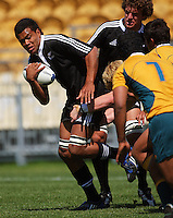 Joseph Tupe is swamped by Australian defenders during the International rugby match between New Zealand Secondary Schools and Suncorp Australia Secondary Schools at Yarrows Stadium, New Plymouth, New Zealand on Friday, 10 October 2008. Photo: Dave Lintott / lintottphoto.co.nz