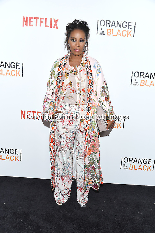 June Ambrose in H and M outfit attends NexFlix's &quot;Orange is the New Black&quot; 4th Season New York Premiereon June 16, 2016 at the SVA Theatre in New York City, NY, USA.<br /> <br /> photo by Robin Platzer/Twin Images<br />  <br /> phone number 212-935-0770