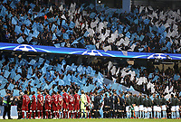 The Manchester City and Liverpool players line up ahead of kick-off<br /> <br /> Photographer Rich Linley/CameraSport<br /> <br /> UEFA Champions League Quarter-Final Second Leg - Manchester City v Liverpool - Tuesday 10th April 2018 - The Etihad - Manchester<br />  <br /> World Copyright &copy; 2017 CameraSport. All rights reserved. 43 Linden Ave. Countesthorpe. Leicester. England. LE8 5PG - Tel: +44 (0) 116 277 4147 - admin@camerasport.com - www.camerasport.com