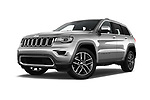 Stock pictures of low aggressive front three quarter view of a 2018 Jeep Grand-Cherokee Limited 5 Door SUV
