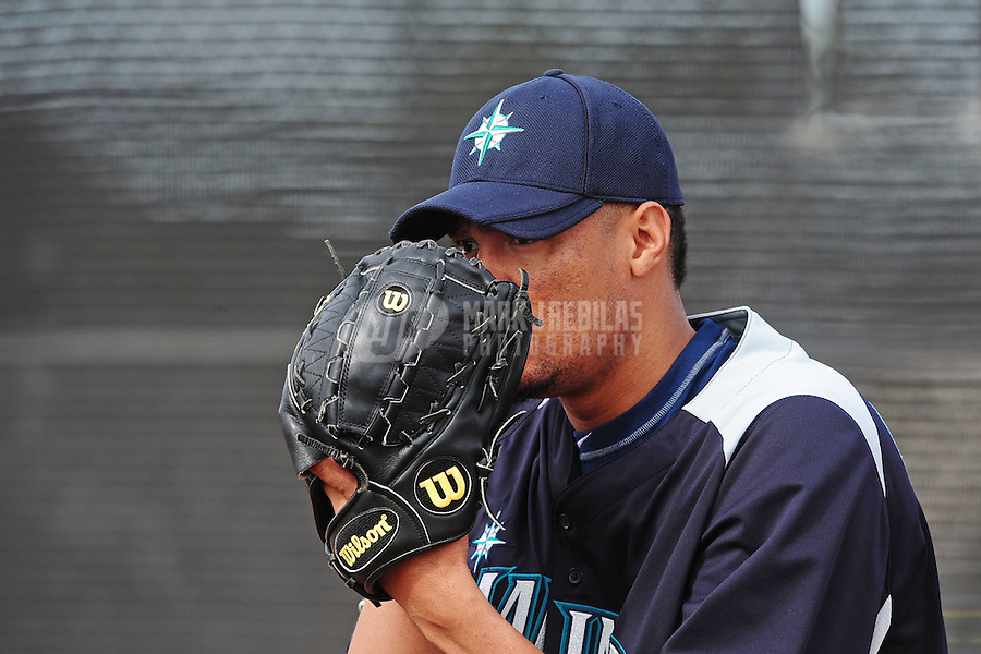 Feb. 15, 2012; Peoria, AZ, USA; Seattle Mariners pitcher Hector Noesi during a pitchers and catchers workout at the Peoria Sports Complex.  Mandatory Credit: Mark J. Rebilas-.