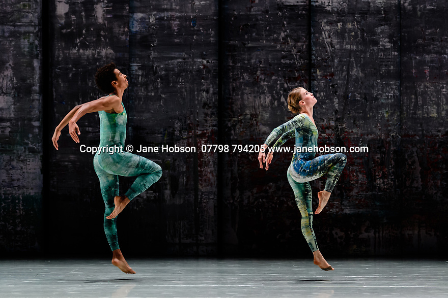 Rambert presents RAMBERT EVENT, by Merce Cunningham, at Sadler's Wells. Choreography by Merce Cunningham, staging by Jeannie Steele, Music by Philip Selway, Quinta and Adem Ilhan, designs inspired by Gerhard Richter's 'Cage' series, performed by Rambert. The dancers are: Liam Francis, Hannah Rudd