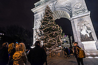 New York, NY 9 December 2015 Christmas tree lighting ceremony in Washington Square Park