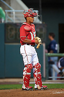 Harrisburg Senators catcher Pedro Severino (4) during a game against the New Hampshire Fisher Cats on July 21, 2015 at Metro Bank Park in Harrisburg, Pennsylvania.  New Hampshire defeated Harrisburg 7-1.  (Mike Janes/Four Seam Images)