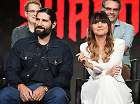 PASADENA, CA - FEBRUARY 4:  (L-R) Cast Members Kayvan Novak and Natasia Demetriou during the WHAT WE DO IN THE SHADOWS panel for the 2019 FX Networks Television Critics Association Winter Press Tour at The Langham Huntington Hotel on February 4, 2019 in Pasadena, California. (Photo by Frank Micelotta/FX/PictureGroup)