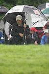 Padraig Harrington lines up his putt on the rain soaked 3rd hole during the final round of the Irish Open on 20th of May 2007 at the Adare Manor Hotel & Golf Resort, Co. Limerick, Ireland. (Photo by Eoin Clarke/NEWSFILE)
