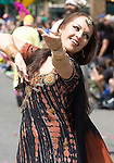 A Performer belly dances during the 21st  Annual Fremont Summer Solstice Parade in Seattle on June 21, 2009.  The parade was held Saturday, bringing out painted and naked bicyclists, bands, belly dancers and floats. (Jim Bryant Photo © 2009)