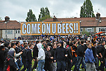 Barnet 1 Rochdale 0, 08/05/2010. Underhill Stadium, League 2. The final game of the season at Underhill. The Bees must beat Rochdale to guarantee their survival. Rochdale are celebrating promotion to League one. Barnet supporters celebrate league survival. Photo by Simon Gill.
