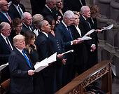 December 5, 2018 - Washington, DC, United States: United States President  Donald J. Trump, First Lady Melania Trump, Barack Obama, Michelle Obama, Bill Clinton, Hillary Clinton, Jimmy Carter and Rosalyn Carter attend the state funeral service of former President George W. Bush at the National Cathedral.  <br /> Credit: Chris Kleponis / Pool via CNP
