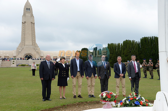 Christian Prudhomme, Bernard Thevenet, Bernard Hinault ASO and Kader Arif, secretaire d'Etat aux Anciens combattants lay wreaths at the ossuary of Douaumont during Stage 7 of the 2014 Tour de France running 234.5km from Epernay to Nancy. 11th July 2014.<br /> Photo ASO/G.Demouveaux/www.newsfile.ie