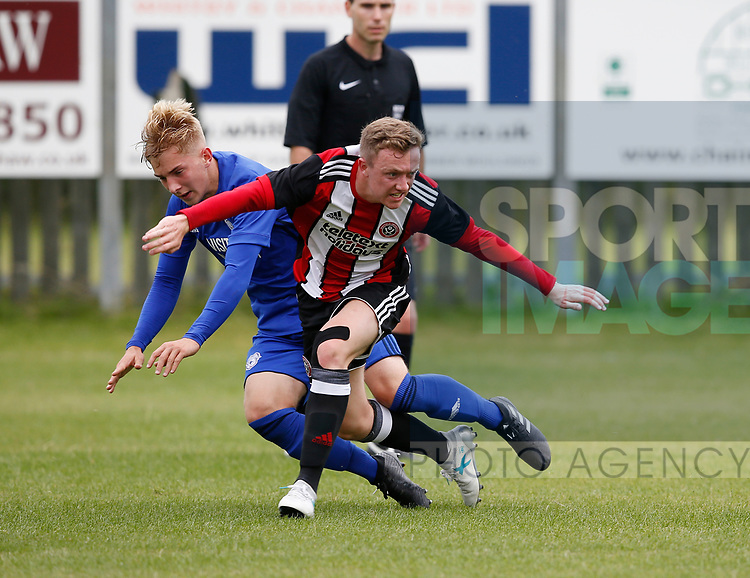 Jordan Hallam of Sheffield Utd during the professional development league two match at the Bracken Moor Stadium, Stocksbridge. Picture date 21st August 2017. Picture credit should read: Simon Bellis/Sportimage