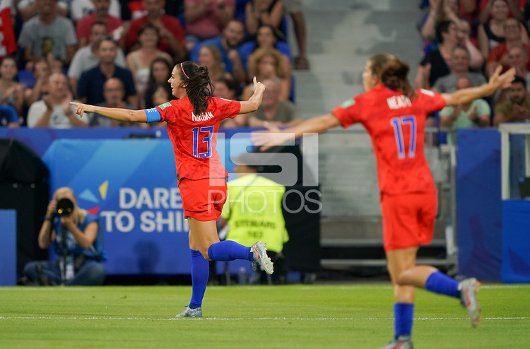 DECINES-CHARPIEU, FRANCE - JULY 02: Alex Morgan #13 scores and celebrates during a 2019 FIFA Women's World Cup France Semi-Final match between England and the United States at Groupama Stadium on July 02, 2019 in Decines-Charpieu, France.