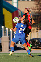 Rochester, NY - Friday June 24, 2016: Western New York Flash forward Lynn Williams (9), Boston Breakers midfielder Angela Salem (26) during a regular season National Women's Soccer League (NWSL) match between the Western New York Flash and the Boston Breakers at Rochester Rhinos Stadium.