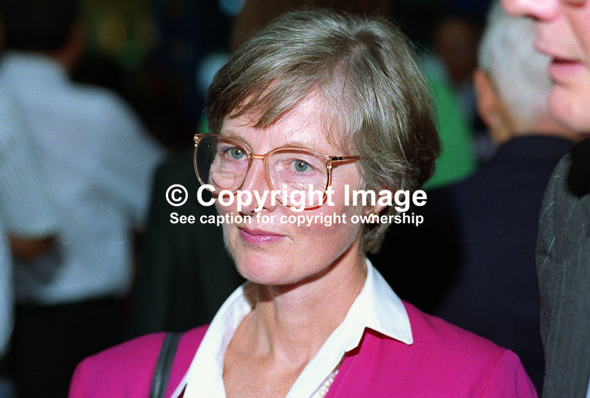 Lucianne Meacher, wife, of Michael Meacher, MP, Labour Party, UK, taken annual conference, October 1992. 19921017LM.<br /> <br /> Copyright Image from Victor Patterson, 54 Dorchester Park, <br /> Belfast, UK, BT9 6RJ<br /> <br /> t1: +44 28 9066 1296 (from Rep of Ireland 048 9066 1296)<br /> t2: +44 28 9002 2446 (from Rep of Ireland 048 9002 2446)<br /> m: +44 7802 353836<br /> <br /> e: victorpatterson@me.com<br /> www.victorpatterson.com<br /> <br /> Please see my Terms and Conditions of Use at www.victorpatterson.com. It is IMPORTANT that you familiarise yourself with them.<br /> <br /> Images used on the Internet must be visibly watermarked i.e. &copy; Victor Patterson<br /> within the body of the image and copyright metadata must not be deleted. Images <br /> used on the Internet have a size restriction of 4kbs and will be chargeable at current<br />  NUJ rates unless agreed otherwise.<br /> <br /> This image is only available for the use of the download recipient i.e. television station, newspaper, magazine, book publisher, etc, and must not be passed on to any third <br /> party. It is also downloaded on condition that each and every usage is notified within 7 days to victorpatterson@me.com<br /> <br /> The right of Victor Patterson to be identified as the author is asserted in accordance with The Copyright Designs And Patents Act (1988). All moral rights are asserted.