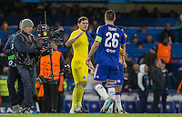 John Terry of Chelsea & Goalkeeper Iker Casillas of FC Porto shake hands on the final whistle during the UEFA Champions League group G match between Chelsea and FC Porto at Stamford Bridge, London, England on 9 December 2015. Photo by Andy Rowland.