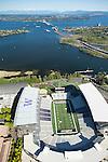 aerial photo of the University of Washington's Husky Stadium in Seattle with Lake Washington and the 520 floating bridge