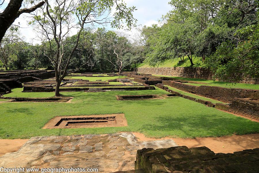 Archeological remains in water gardens of Sigiriya rock palace, Central Province, Sri Lanka, Asia
