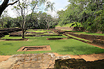 Archeological remains in water gardens of Sigiriya rock palace, Central Province, Sri Lanka, Asia