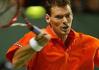06-03-2006,Swiss,Freibourgh, Davis Cup , Swiss-Netherlands, Sjeng Schalken in action against Stanislas Wawrinka