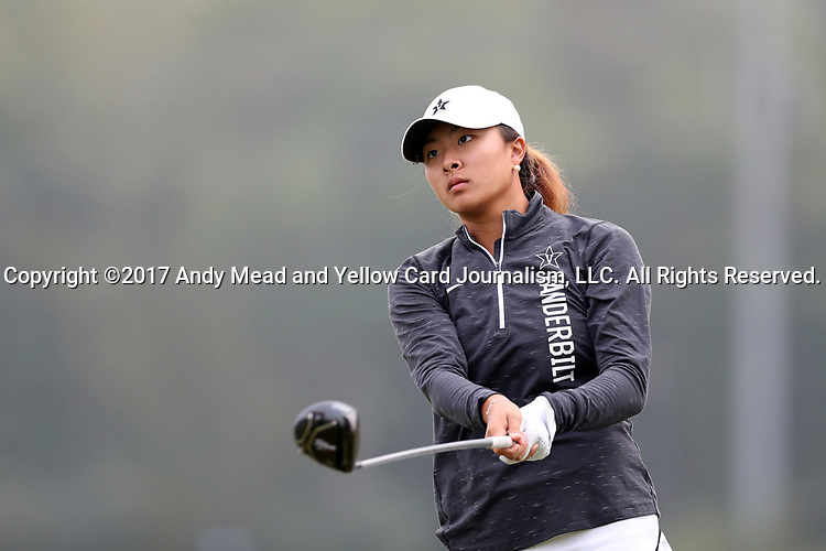 CHAPEL HILL, NC - OCTOBER 15: Vanderbilt's Louise Yu on the 1st tee. The third and final round of the Ruth's Chris Tar Heel Invitational Women's Golf Tournament was held on October 15, 2017, at the UNC Finley Golf Course in Chapel Hill, NC.
