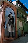 Italie. Italia. Sardaigne. Sardinia.Peintures murales (murales) dans les rues du village de Fonni