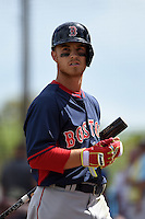 Boston Red Sox second baseman Sean Coyle (80) during a Spring Training game against the Pittsburgh Pirates on March 12, 2015 at McKechnie Field in Bradenton, Florida.  Boston defeated Pittsburgh 5-1.  (Mike Janes/Four Seam Images)