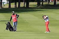 Rahil Gangjee (IND) plays his 2nd shot on the 10th hole during Thursday's Round 1 of the 2017 Omega European Masters held at Golf Club Crans-Sur-Sierre, Crans Montana, Switzerland. 7th September 2017.<br /> Picture: Eoin Clarke | Golffile<br /> <br /> <br /> All photos usage must carry mandatory copyright credit (&copy; Golffile | Eoin Clarke)
