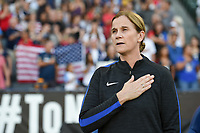 Carson, CA - Thursday August 03, 2017: Jill Ellis during a 2017 Tournament of Nations match between the women's national teams of the United States (USA) and Japan (JPN) at the StubHub Center.