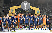 February 1st 2019; Adu Dhabi, United Arab Emirates; Asian Cup football final, Japan versus Qatar;  Players of Japan on the 2nd place podium after Qatar won the final by a score of 1-3