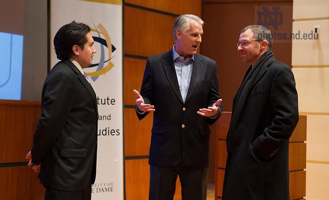 Nov. 13, 2013; Ambassador Tim Roemer speaks in the Jordan Auditorium at the Mendoza College of Business. Photo by Barbara Johnston/University of Notre Dame