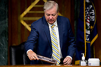 United States Senator Lindsey Graham (Republican of South  Carolina), Chairman, US Senate Judiciary Committee, arrives for a committee hearing on Capitol Hill in Washington, Tuesday, June 9, 2020, to examine COVID-19 fraud, focusing on law enforcement's response to those exploiting the pandemic. <br /> Credit: Andrew Harnik / Pool via CNP/AdMedia