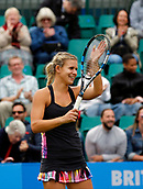 June 12th 2017,  Nottingham, England; WTA Aegon Nottingham Open Tennis Tournament day 3; Croatian Qualifier Jana Fett thanks the crowd after beating German 7th seed Mona Barthel 6-3 5-7 7-5