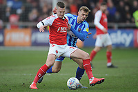 Blackpool's Kiernan Dewsbury-Hall vies for possession with Fleetwood Town's Paul Coutts<br /> <br /> Photographer Kevin Barnes/CameraSport<br /> <br /> The EFL Sky Bet League One - Fleetwood Town v Blackpool - Saturday 7th March 2020 - Highbury Stadium - Fleetwood<br /> <br /> World Copyright © 2020 CameraSport. All rights reserved. 43 Linden Ave. Countesthorpe. Leicester. England. LE8 5PG - Tel: +44 (0) 116 277 4147 - admin@camerasport.com - www.camerasport.com