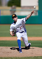 Mesa Solar Sox pitcher Chris Reed #25, of the Los Angeles Dodgers organization, during an Arizona Fall League game against the Peoria Javelinas at HoHoKam Park on October 15, 2012 in Mesa, Arizona.  Peoria defeated Mesa 9-2.  (Mike Janes/Four Seam Images)