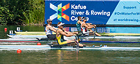"""Lucerne, SWITZERLAND, 12th July 2018, Friday, Leading, """"GER1 M1X"""", """"Tim Ole NASKE"""" moves away at the Start  of his Heat in the Men's Single Sculls, at the FISA World Cup series, No.3, Lake Rotsee, Lucerne, © Peter SPURRIER,"""