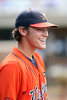 Tyler Wilson of the Virginia Cavaliers playing in Game Two of the NCAA Super Regional tournament against the Oklahoma Sooners at Charlottesville, VA - 06/13/2010. Oklahoma defeated Virginia, 10-7, to tie the series after two games.  Photo By Bill Mitchell / Four Seam Images