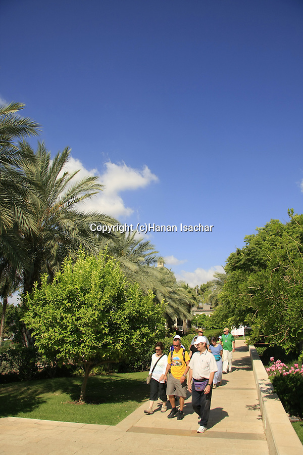 Israel, pilgrims at the Church of Beatitudes