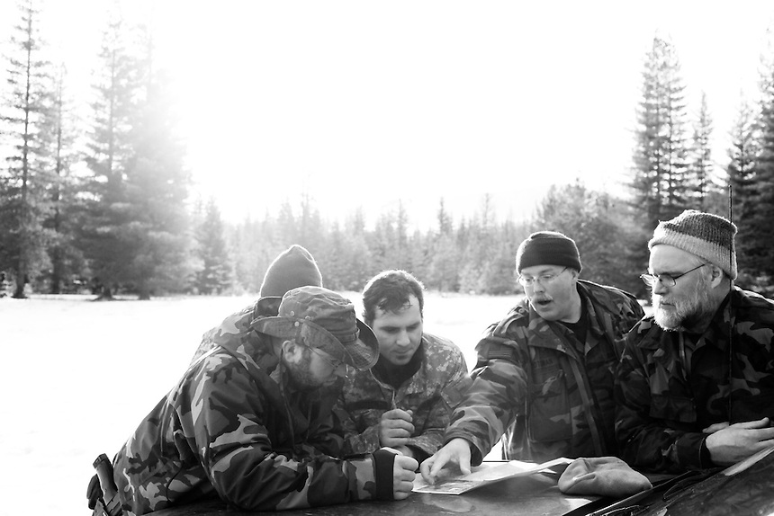 Members of the Idaho Light Foot Militia do not use Global Positioning Satellite systems, for fear it may give away their position in a real combat situation. Instead they use US Forest Service or Bureau of Land Management maps with a coordinate scale and protractor tool.