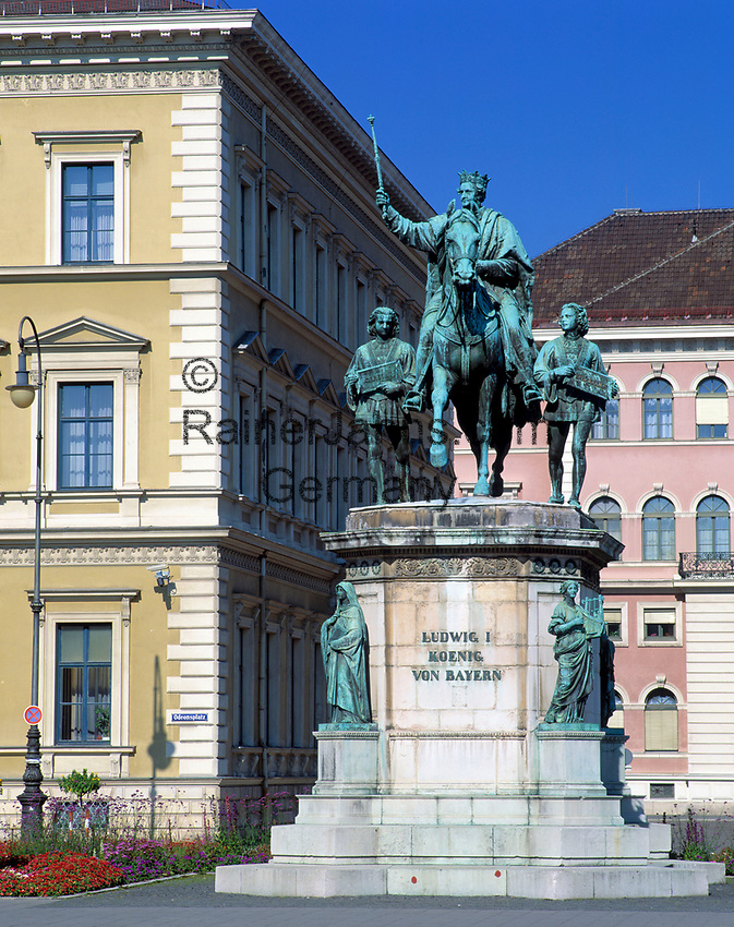 Deutschland, Bayern, Oberbayern, Muenchen: Ludwig I. Koenig von Bayern - Ludwigstrasse | Germany, Bavaria, Upper Bavaria, Munich: Ludwigstreet - Ludwig I. King  of Bavaria