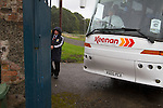 Harestanes AFC v Girvan FC, 15/08/2015. Scottish Cup preliminary round, Duncansfield Park. A club official guiding the visitors team bus outside the main gate before Harestanes AFC take on Girvan FC in a Scottish Cup preliminary round tie, staged at Duncansfield Park, home of Kilsyth Rangers. The home team were the first winners of the Scottish Amateur Cup to be admitted directly into the Scottish Cup in the modern era, whilst the visitors participated as a result of being members of both the Scottish Football Association and the Scottish Junior Football Association. Girvan won the match by 3-0, watched by a crowd of 300, which was moved from Harestanes ground as it did not comply with Scottish Cup standards. Photo by Colin McPherson.