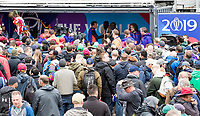 Fans gather to listen to Clive Lloyd and Sir Vivian Richards whist play suspended during South Africa vs West Indies, ICC World Cup Cricket at the Hampshire Bowl on 10th June 2019