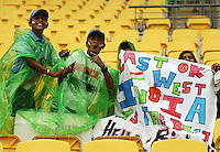 India fans brave the rain during the 2nd ODI cricket match between the New Zealand Black Caps and India at Westpac Stadium, Wellington, New Zealand on Friday, 6 March 2009. Photo: Dave Lintott / lintottphoto.co.nz