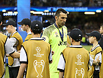 Juventus' Gianluigi Buffon looks on dejected during the Champions League Final match at the Principality Stadium, Cardiff. Picture date: June 3rd, 2017. Pic credit should read: David Klein/Sportimage