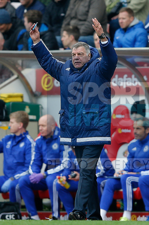 Sam Allardyce manager of Sunderland throws his arms up in frustration following Chelsea's second goal during the Barclays Premier League match at the Stadium of Light, Sunderland. Photo credit should read: Simon Bellis/Sportimage