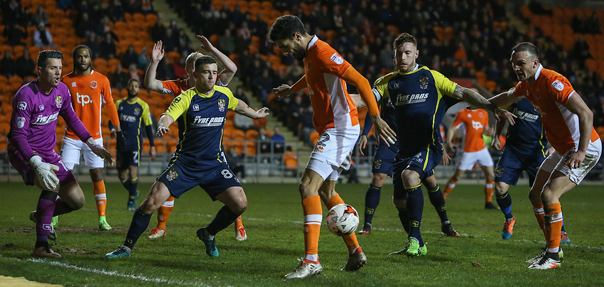 Blackpool's Kelvin Mellor tries to bring the ball under control in the Stevenage area<br /> <br /> Photographer Alex Dodd/CameraSport<br /> <br /> The EFL Sky Bet League Two - Blackpool v Stevenage - Tuesday 14th March 2017 - Bloomfield Road - Blackpool<br /> <br /> World Copyright &copy; 2017 CameraSport. All rights reserved. 43 Linden Ave. Countesthorpe. Leicester. England. LE8 5PG - Tel: +44 (0) 116 277 4147 - admin@camerasport.com - www.camerasport.com
