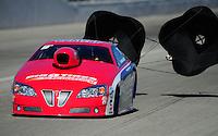 Feb. 10, 2012; Pomona, CA, USA; NHRA pro stock driver Shane Gray during qualifying at the Winternationals at Auto Club Raceway at Pomona. Mandatory Credit: Mark J. Rebilas-