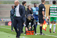 Wycombe manager Gareth Ainsworth appears to bite his nails during a break in play of the Sky Bet League 2 match between Yeovil Town and Wycombe Wanderers at Huish Park, Yeovil, England on 8 October 2016. Photo by Mark  Hawkins / PRiME Media Images.
