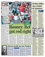 Daily Express 29-Sep-2014 - 'Rooney: Ref got red right' - Photo by Rob Newell (Digital South)