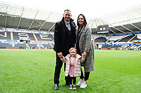 Lee Trundle of Swansea City with family at full time during the Sky Bet Championship match between Swansea City and Hull City at the Liberty Stadium in Swansea, Wales, UK. Saturday 27 April 2019